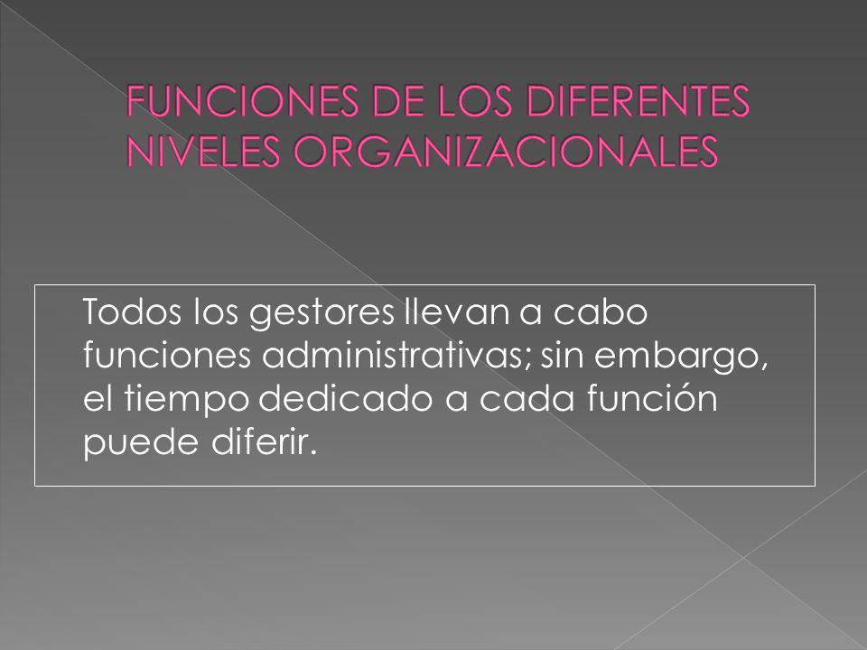 Todos los gestores llevan a cabo funciones administrativas; sin embargo, el tiempo dedicado a cada función puede diferir.