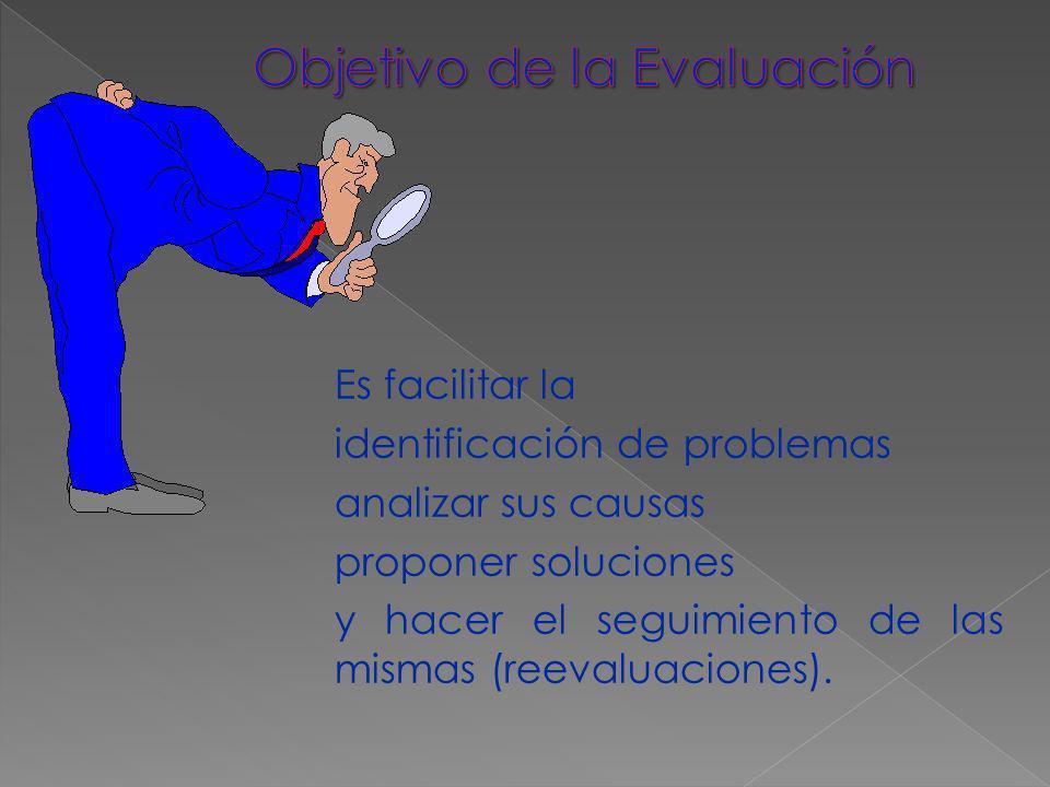 Es facilitar la identificación de problemas analizar sus causas proponer soluciones y hacer el seguimiento de las mismas (reevaluaciones).