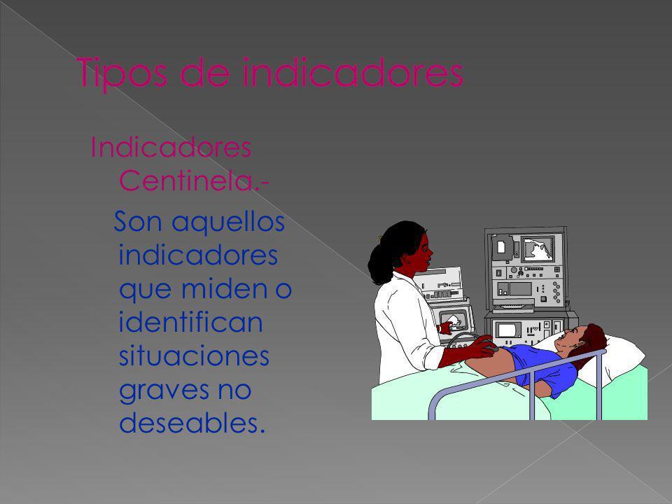 Indicadores Centinela.- Son aquellos indicadores que miden o identifican situaciones graves no deseables.
