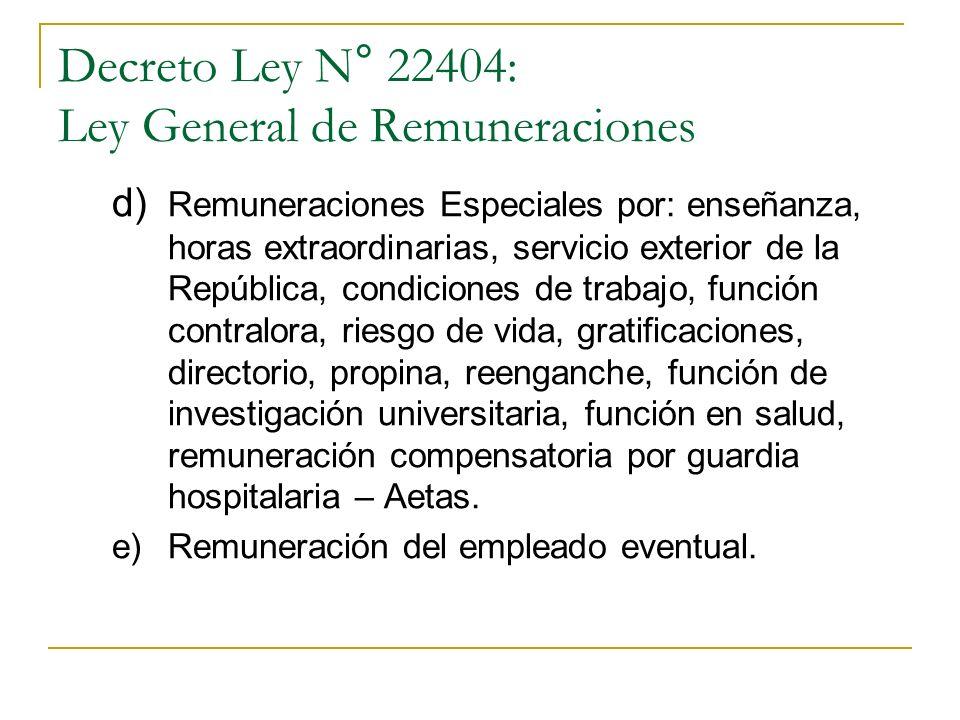 Decreto Ley N° 22404: Ley General de Remuneraciones a) Remuneración básica b) Remuneraciones complementarias: personal, familiar, por promoción, por r