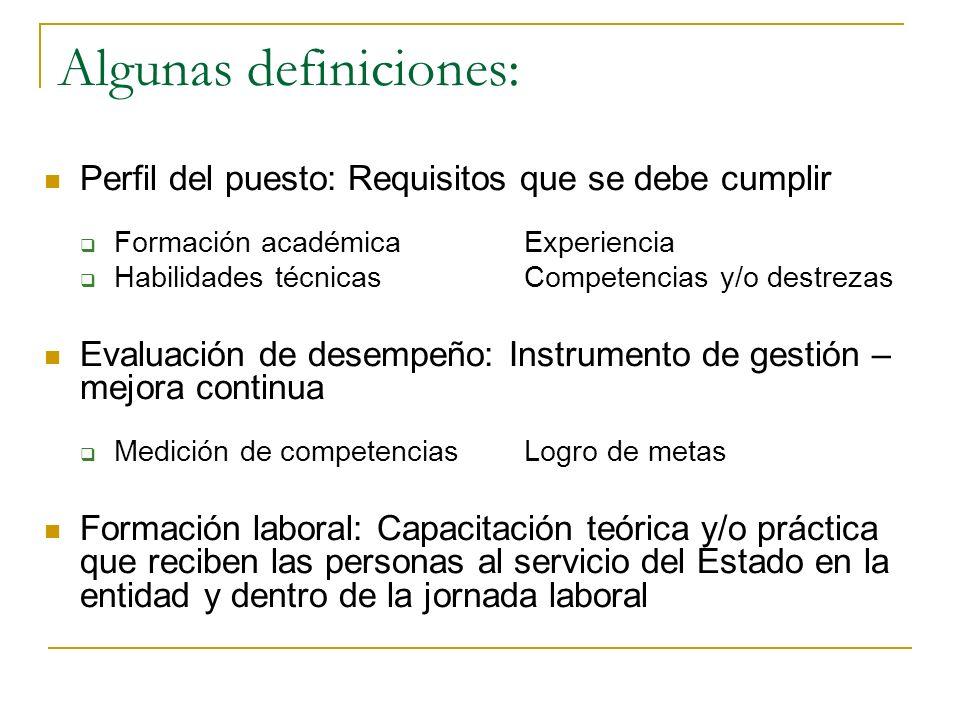 Algunas definiciones: Brecha: Diferencia entre competencias contenidas en el perfil del puesto y quien lo ocupa Competencias: Características personal