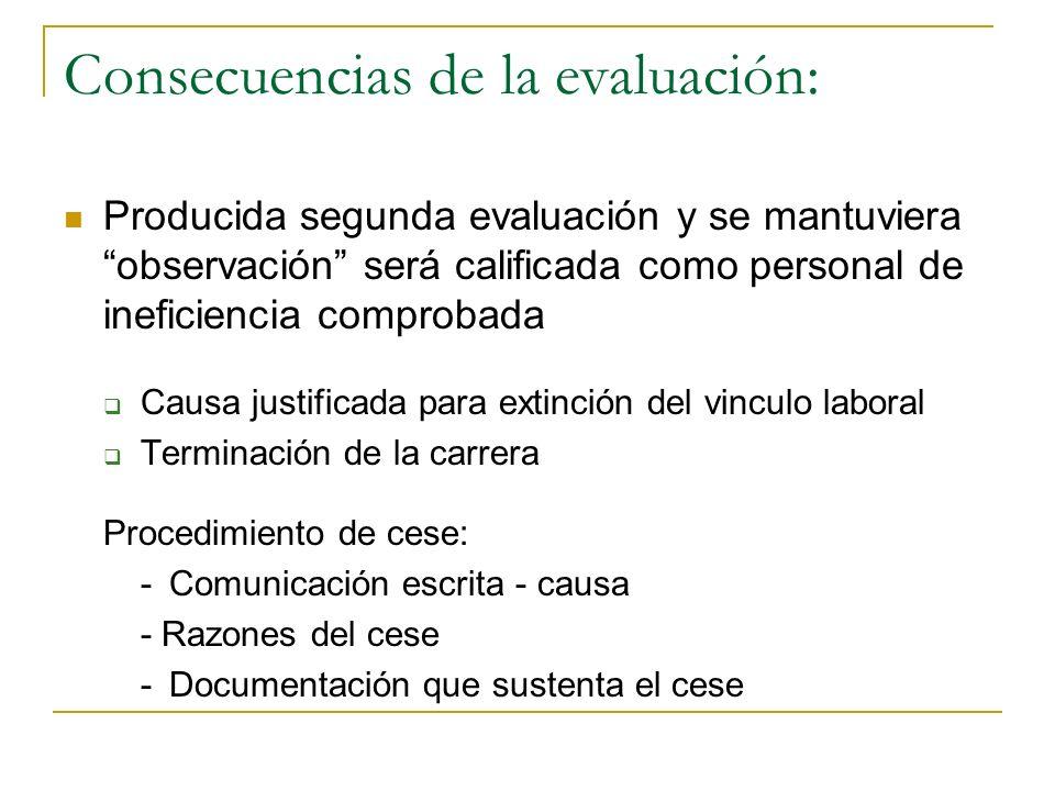 Consecuencias de la evaluación: Determinante para concesión de estímulos y premios Determinante para: desarrollo de la línea de carrera Permanencia en
