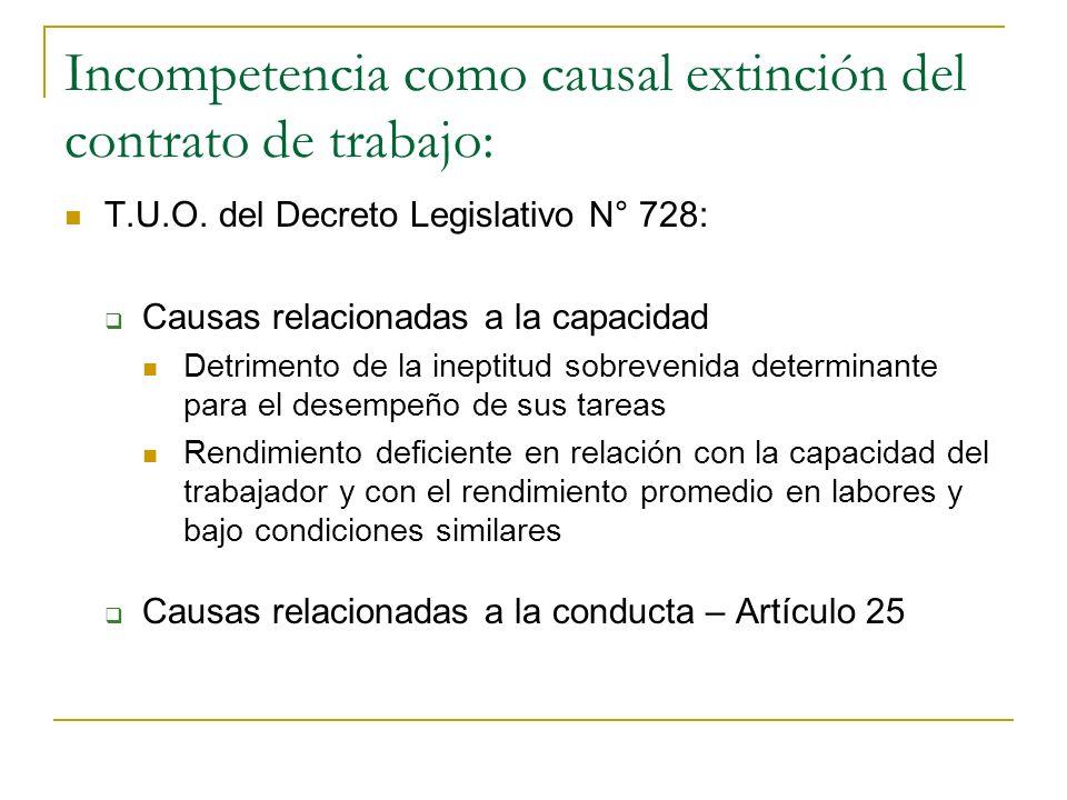 Incompetencia como causal extinción del contrato de trabajo: Ley N° 11377: Estatuto y escalafón del Servicio Civil (1950), Art. 83: Faltas de carácter