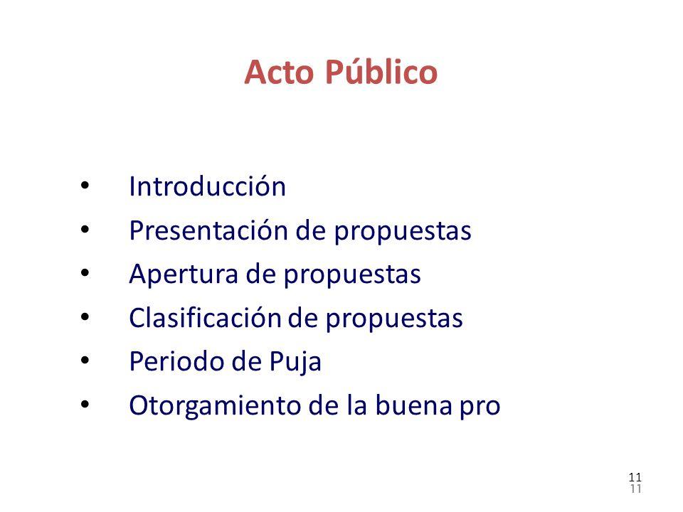 Acto Público Introducción Presentación de propuestas Apertura de propuestas Clasificación de propuestas Periodo de Puja Otorgamiento de la buena pro 1
