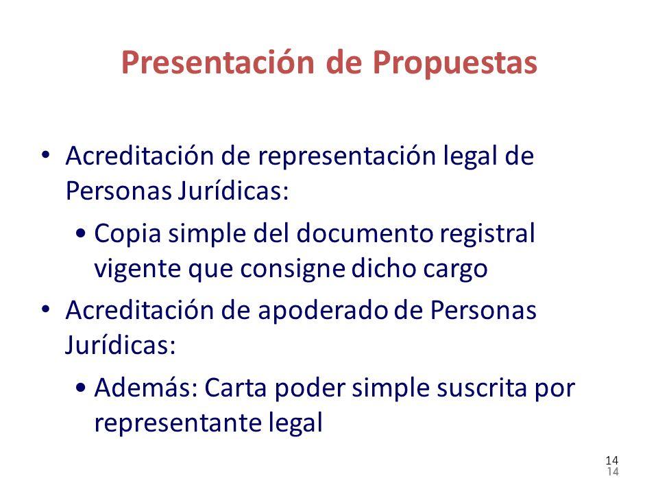 Presentación de Propuestas Acreditación de representación legal de Personas Jurídicas: Copia simple del documento registral vigente que consigne dicho