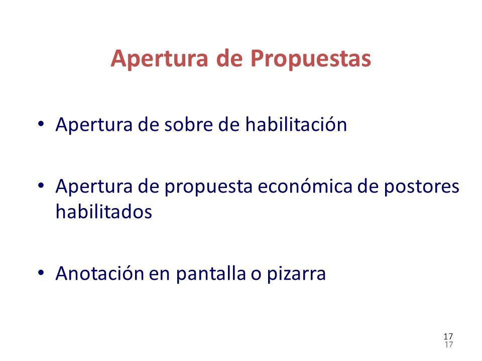 Apertura de Propuestas Apertura de sobre de habilitación Apertura de propuesta económica de postores habilitados Anotación en pantalla o pizarra 17