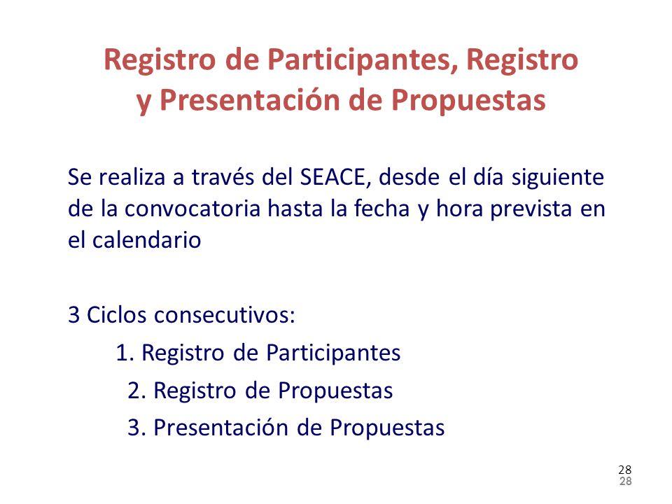 Registro de Participantes, Registro y Presentación de Propuestas Se realiza a través del SEACE, desde el día siguiente de la convocatoria hasta la fec