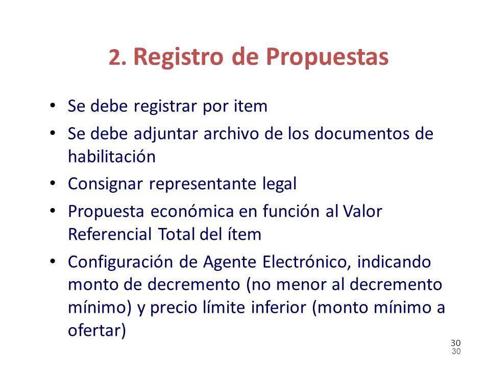 2. Registro de Propuestas Se debe registrar por item Se debe adjuntar archivo de los documentos de habilitación Consignar representante legal Propuest
