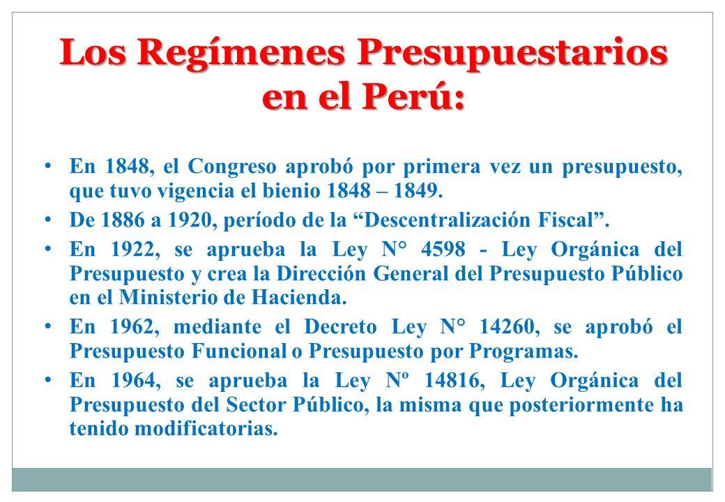 En 1848, el Congreso aprobó por primera vez un presupuesto, que tuvo vigencia el bienio 1848 – 1849. De 1886 a 1920, período de la Descentralización F