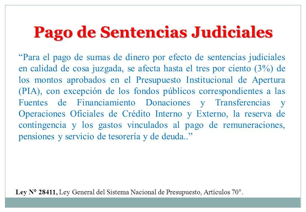 Pago de Sentencias Judiciales Para el pago de sumas de dinero por efecto de sentencias judiciales en calidad de cosa juzgada, se afecta hasta el tres