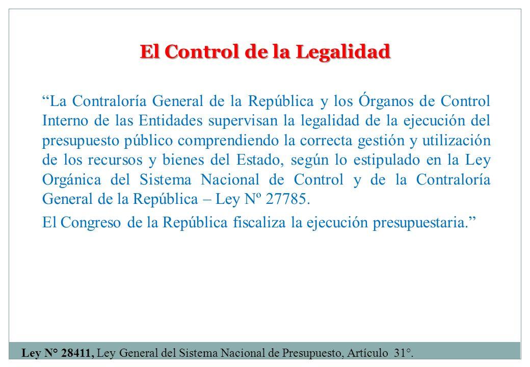 El Control de la Legalidad La Contraloría General de la República y los Órganos de Control Interno de las Entidades supervisan la legalidad de la ejec