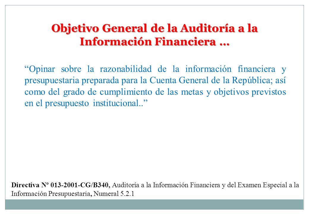 Objetivo General de la Auditoría a la Información Financiera … Opinar sobre la razonabilidad de la información financiera y presupuestaria preparada p