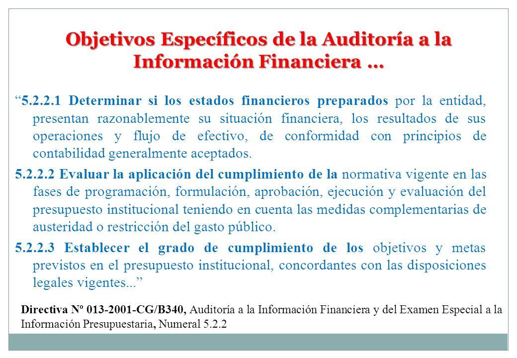 Objetivos Específicos de la Auditoría a la Información Financiera … 5.2.2.1 Determinar si los estados financieros preparados por la entidad, presentan