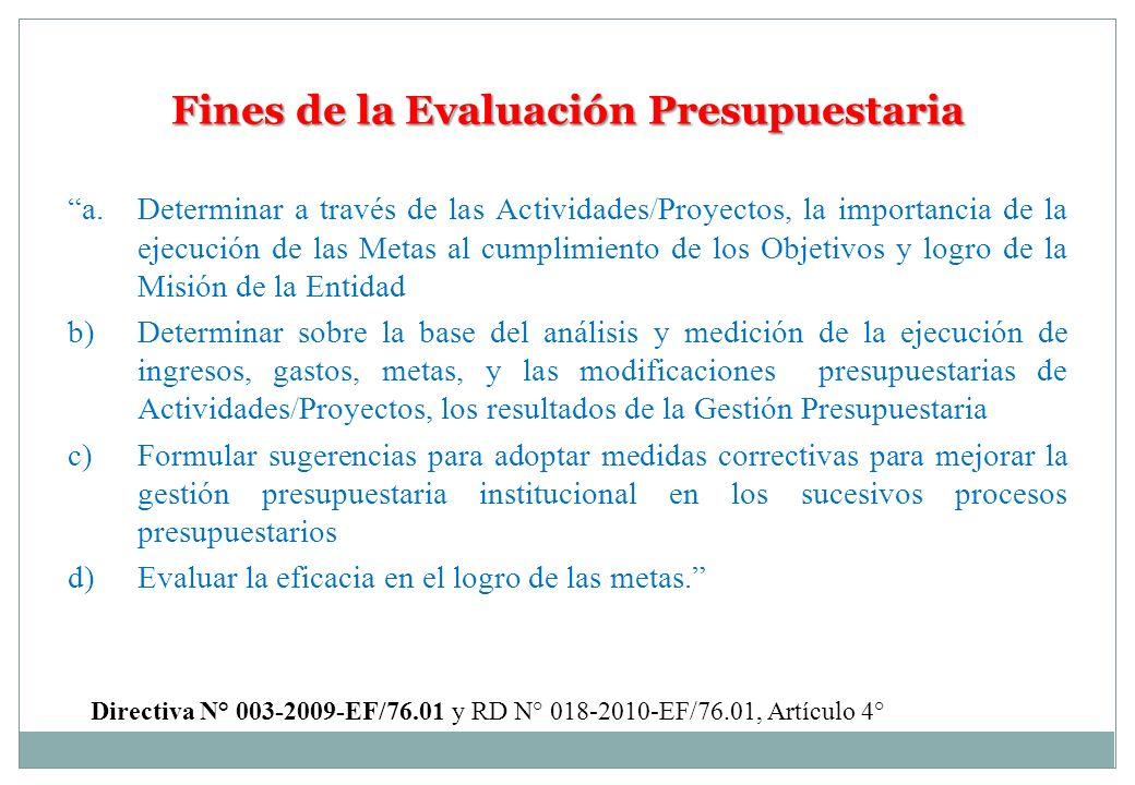 Fines de la Evaluación Presupuestaria a. Determinar a través de las Actividades/Proyectos, la importancia de la ejecución de las Metas al cumplimiento