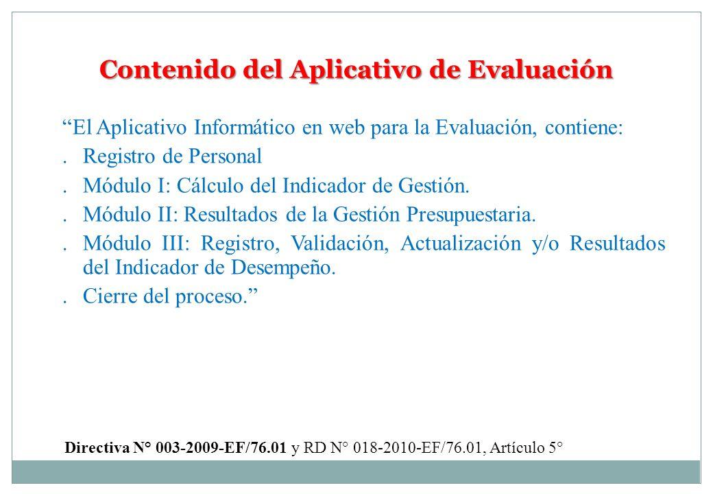 Contenido del Aplicativo de Evaluación El Aplicativo Informático en web para la Evaluación, contiene:.Registro de Personal.Módulo I: Cálculo del Indic