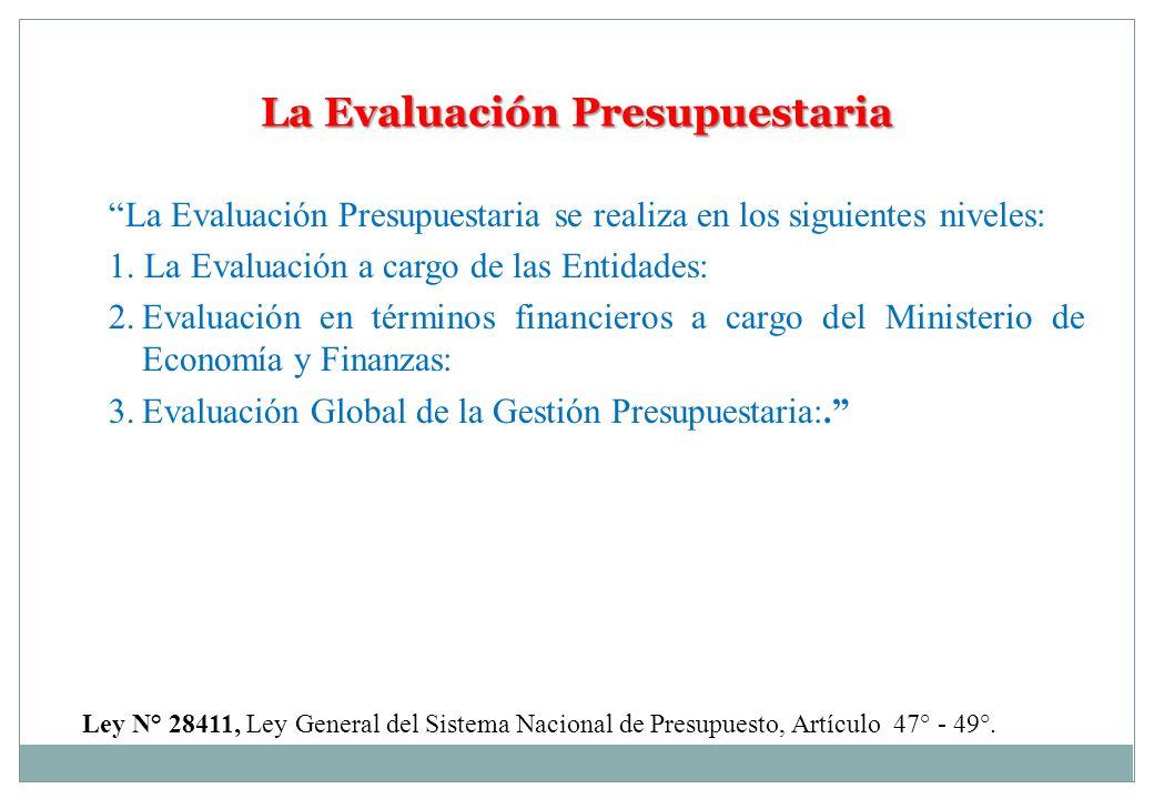 La Evaluación Presupuestaria La Evaluación Presupuestaria se realiza en los siguientes niveles: 1. La Evaluación a cargo de las Entidades: 2.Evaluació