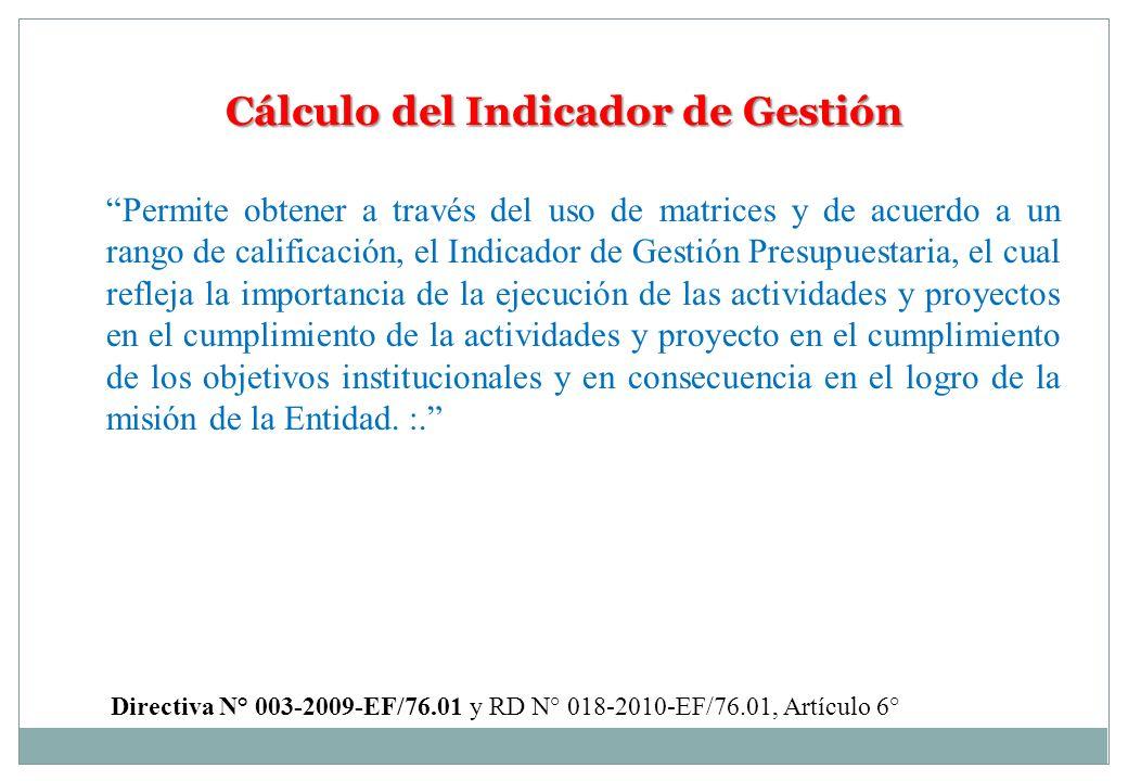 Cálculo del Indicador de Gestión Permite obtener a través del uso de matrices y de acuerdo a un rango de calificación, el Indicador de Gestión Presupu