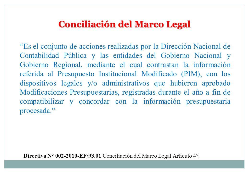 Conciliación del Marco Legal Es el conjunto de acciones realizadas por la Dirección Nacional de Contabilidad Pública y las entidades del Gobierno Naci