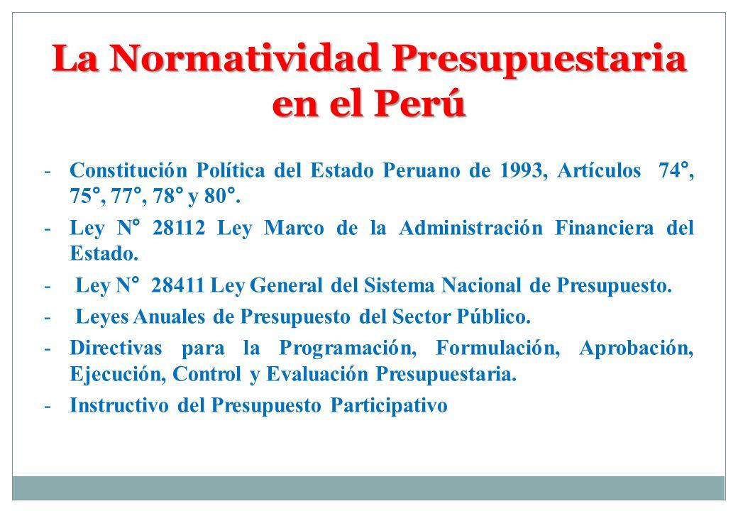 La Normatividad Presupuestaria en el Perú -Constitución Política del Estado Peruano de 1993, Artículos 74°, 75°, 77°, 78° y 80°. -Ley N° 28112 Ley Mar