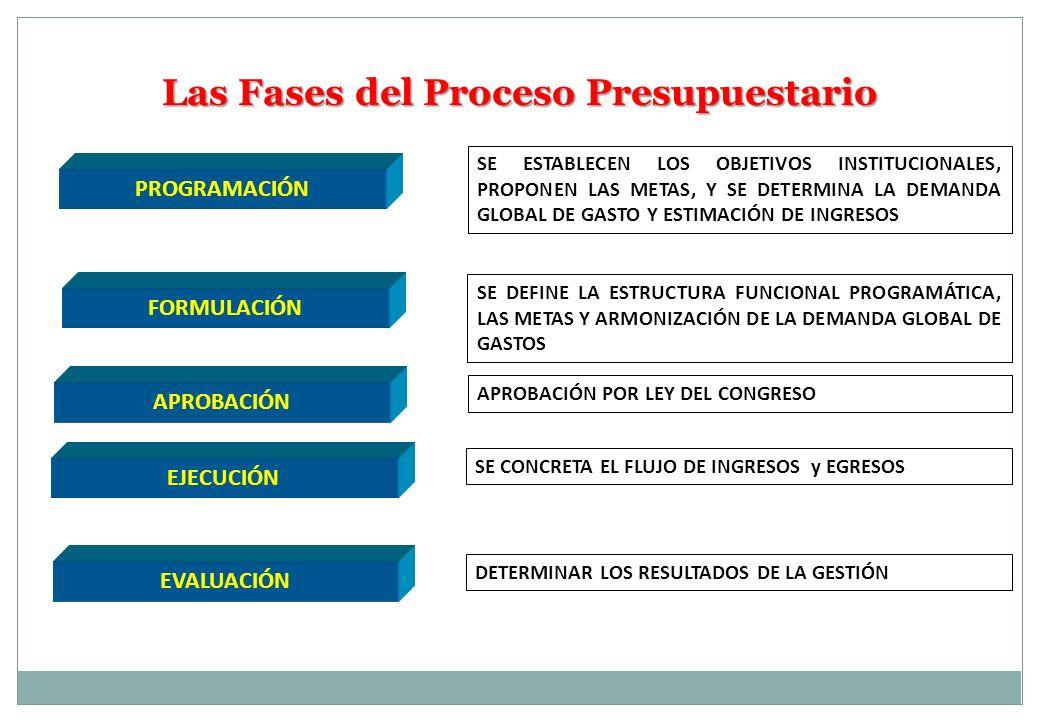 Las Fases del Proceso Presupuestario PROGRAMACIÓN APROBACIÓN EJECUCIÓN EVALUACIÓN FORMULACIÓN SE ESTABLECEN LOS OBJETIVOS INSTITUCIONALES, PROPONEN LA