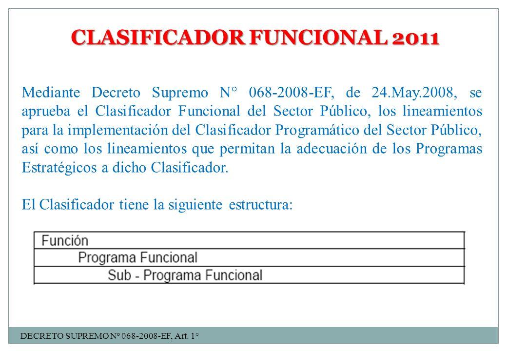 CLASIFICADOR FUNCIONAL 2011 Mediante Decreto Supremo N° 068-2008-EF, de 24.May.2008, se aprueba el Clasificador Funcional del Sector Público, los line