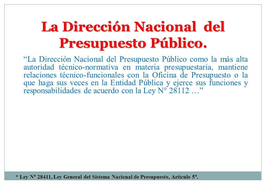 La Dirección Nacional del Presupuesto Público. La Dirección Nacional del Presupuesto Público como la más alta autoridad técnico-normativa en materia p