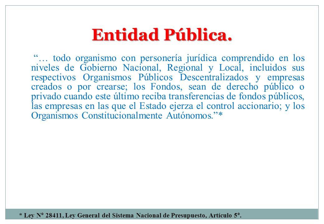 Entidad Pública. … todo organismo con personería jurídica comprendido en los niveles de Gobierno Nacional, Regional y Local, incluidos sus respectivos