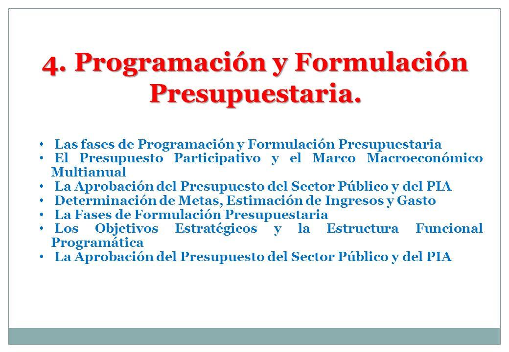 4. Programación y Formulación Presupuestaria. Las fases de Programación y Formulación Presupuestaria El Presupuesto Participativo y el Marco Macroecon