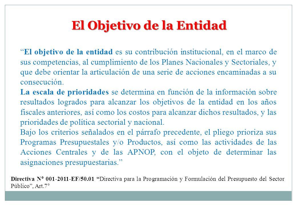 El Objetivo de la Entidad El objetivo de la entidad es su contribución institucional, en el marco de sus competencias, al cumplimiento de los Planes N