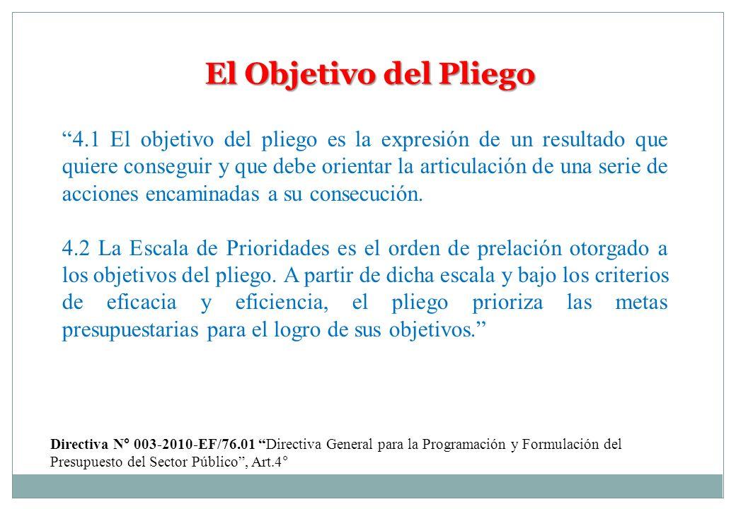 El Objetivo del Pliego 4.1 El objetivo del pliego es la expresión de un resultado que quiere conseguir y que debe orientar la articulación de una seri