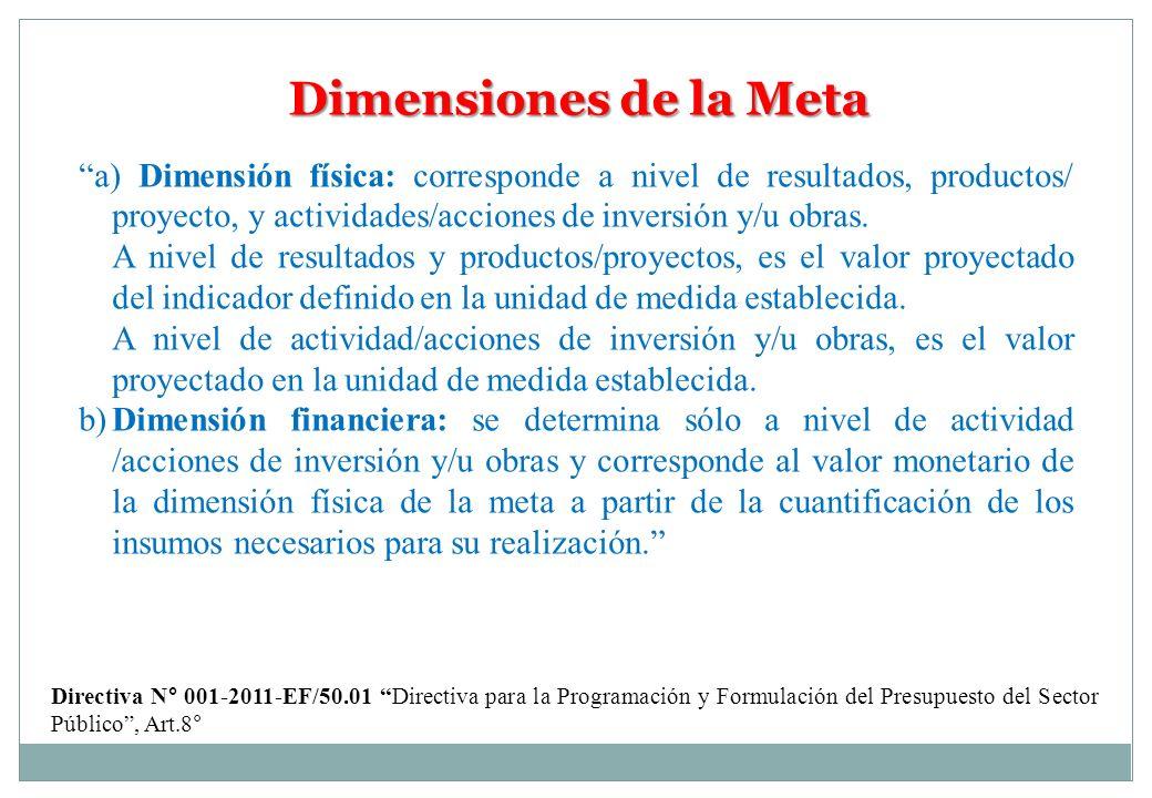 Dimensiones de la Meta a) Dimensión física: corresponde a nivel de resultados, productos/ proyecto, y actividades/acciones de inversión y/u obras. A n
