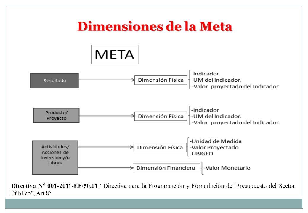 Dimensiones de la Meta Directiva N° 001-2011-EF/50.01 Directiva para la Programación y Formulación del Presupuesto del Sector Público, Art.8°