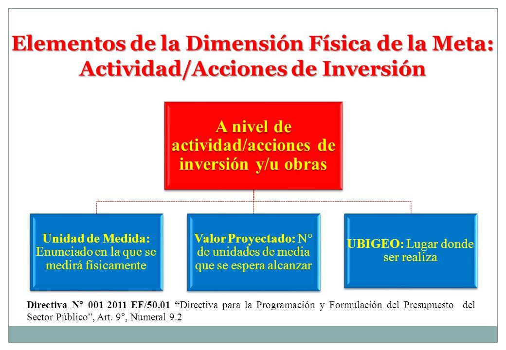 Directiva N° 001-2011-EF/50.01 Directiva para la Programación y Formulación del Presupuesto del Sector Público, Art. 9°, Numeral 9.2 A nivel de activi