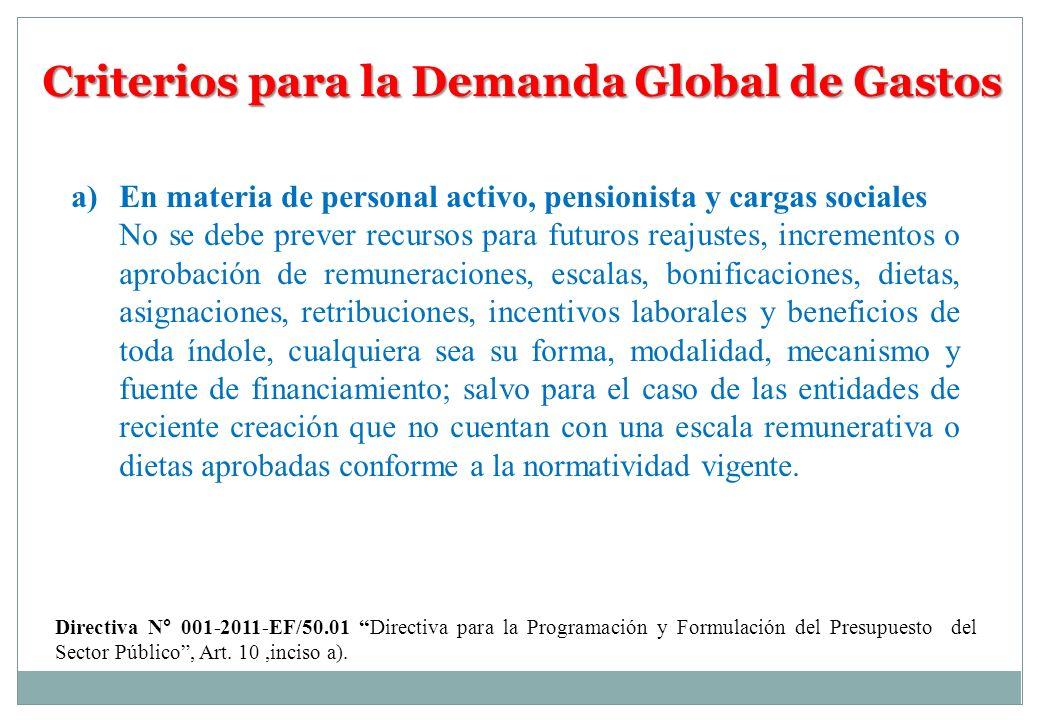 Criterios para la Demanda Global de Gastos a)En materia de personal activo, pensionista y cargas sociales No se debe prever recursos para futuros reaj