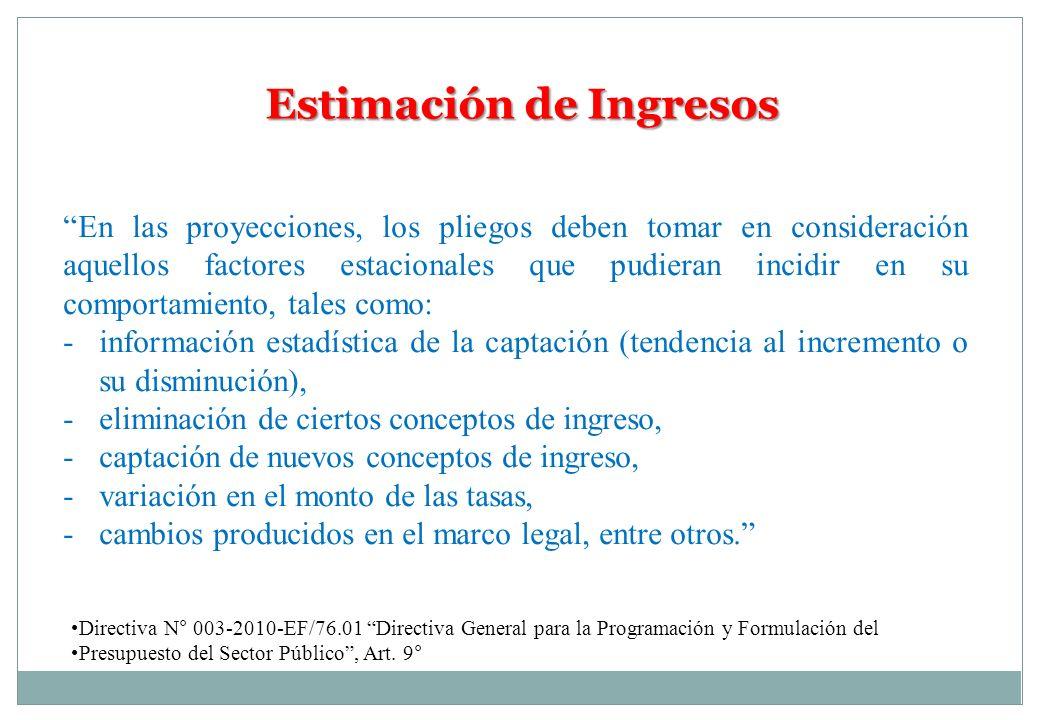 Estimación de Ingresos En las proyecciones, los pliegos deben tomar en consideración aquellos factores estacionales que pudieran incidir en su comport