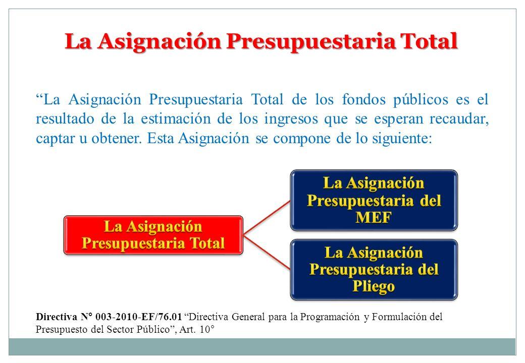 La Asignación Presupuestaria Total La Asignación Presupuestaria Total de los fondos públicos es el resultado de la estimación de los ingresos que se e