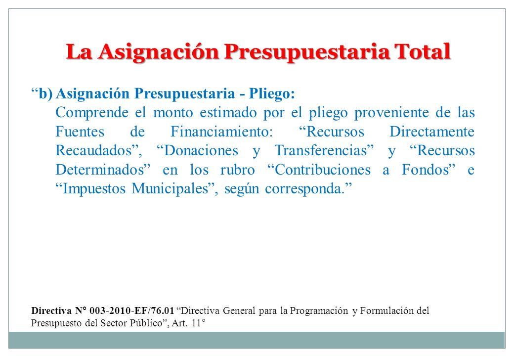 La Asignación Presupuestaria Total b) Asignación Presupuestaria - Pliego: Comprende el monto estimado por el pliego proveniente de las Fuentes de Fina