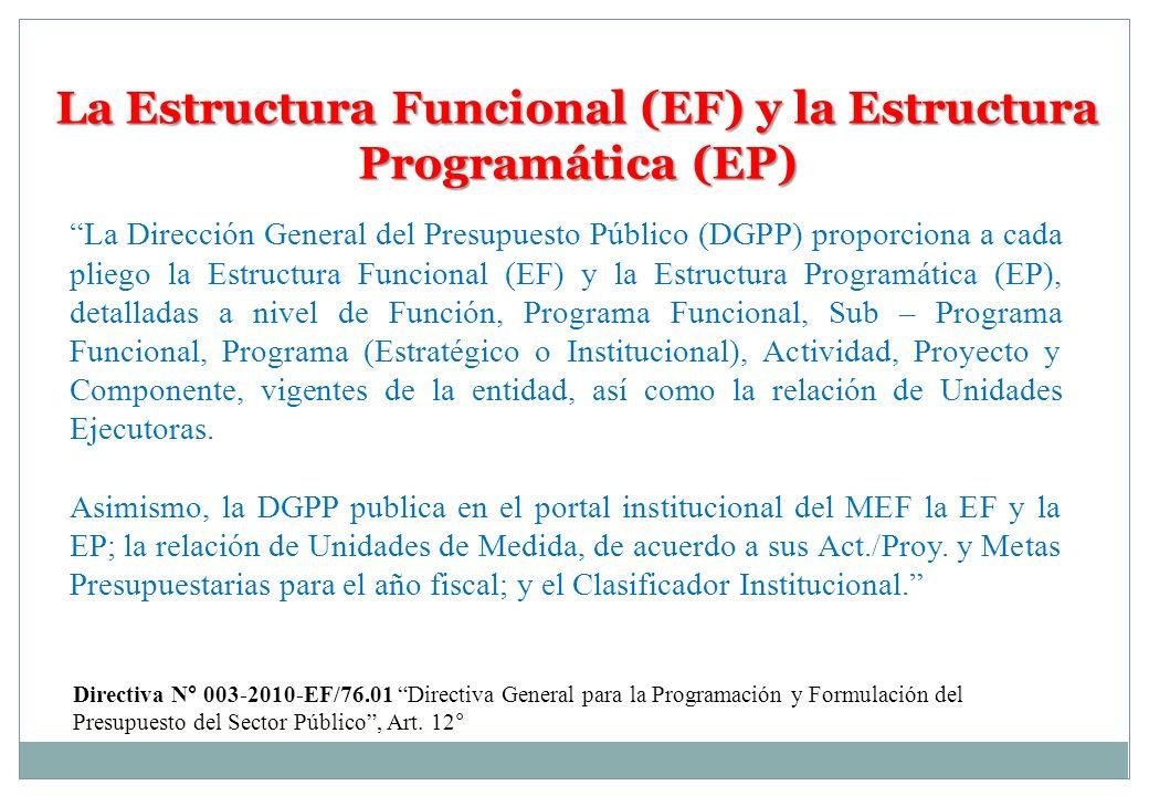 La Estructura Funcional (EF) y la Estructura Programática (EP) La Dirección General del Presupuesto Público (DGPP) proporciona a cada pliego la Estruc