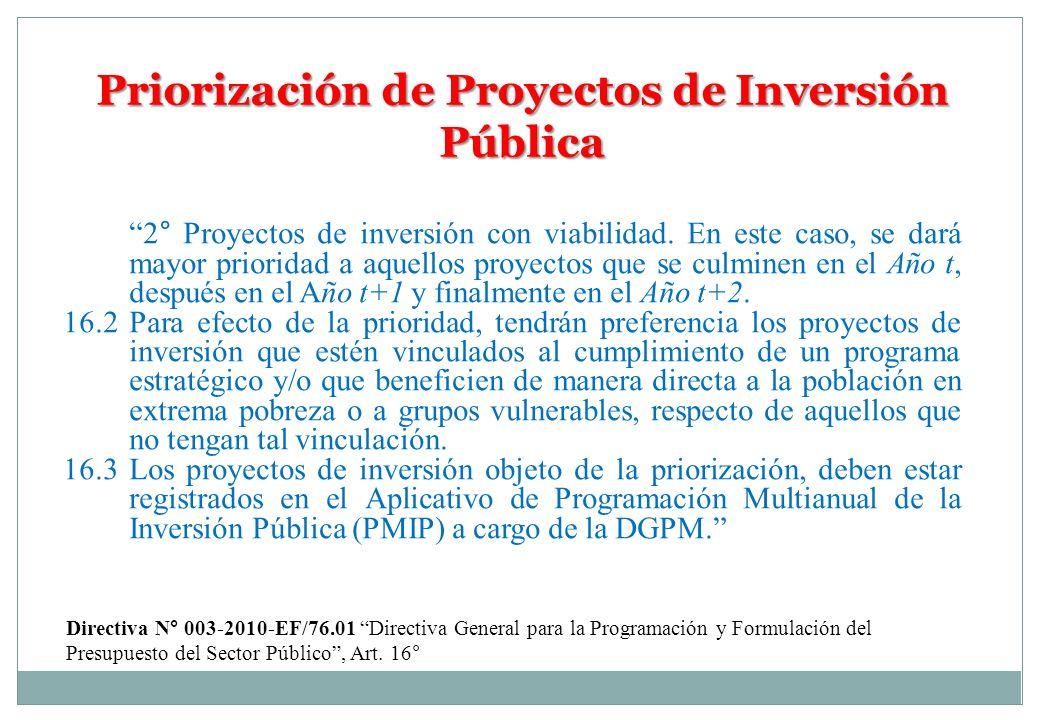 Priorización de Proyectos de Inversión Pública 2° Proyectos de inversión con viabilidad. En este caso, se dará mayor prioridad a aquellos proyectos qu