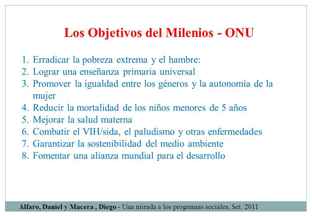 Los Objetivos del Milenios - ONU Alfaro, Daniel y Macera, Diego - Una mirada a los programas sociales, Set. 2011 1. Erradicar la pobreza extrema y el