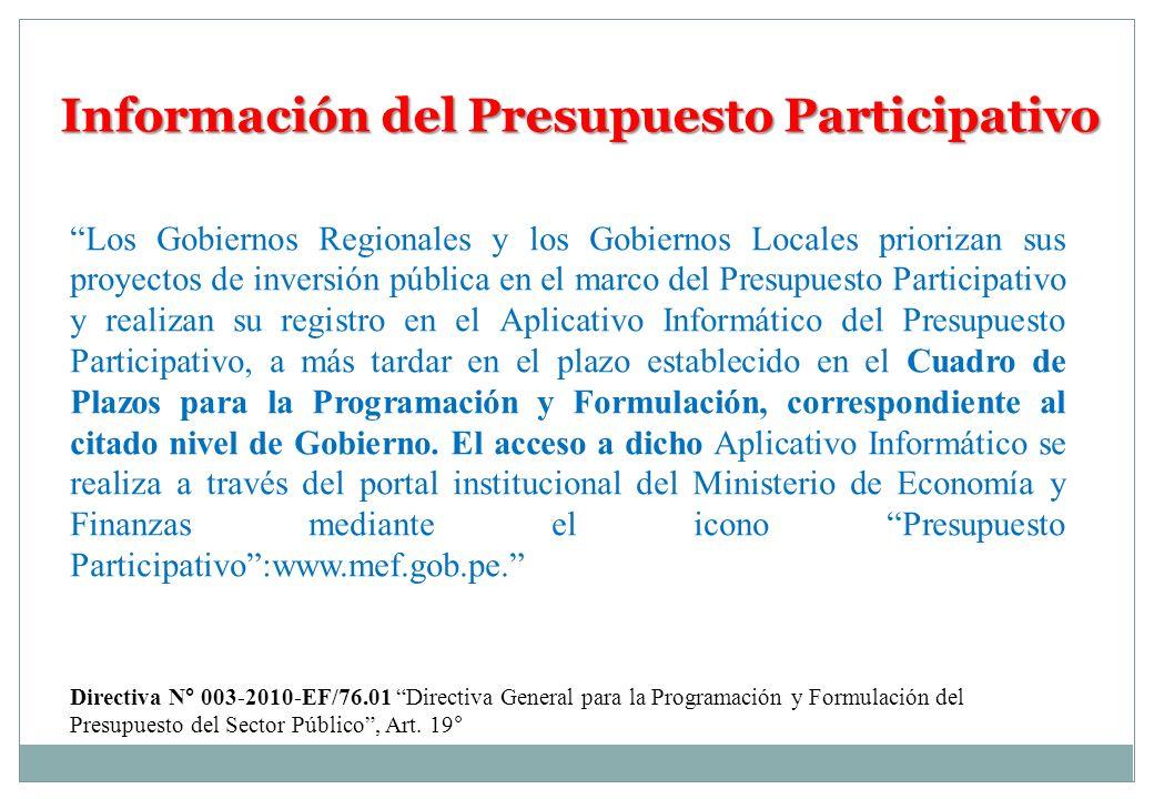 Información del Presupuesto Participativo Los Gobiernos Regionales y los Gobiernos Locales priorizan sus proyectos de inversión pública en el marco de