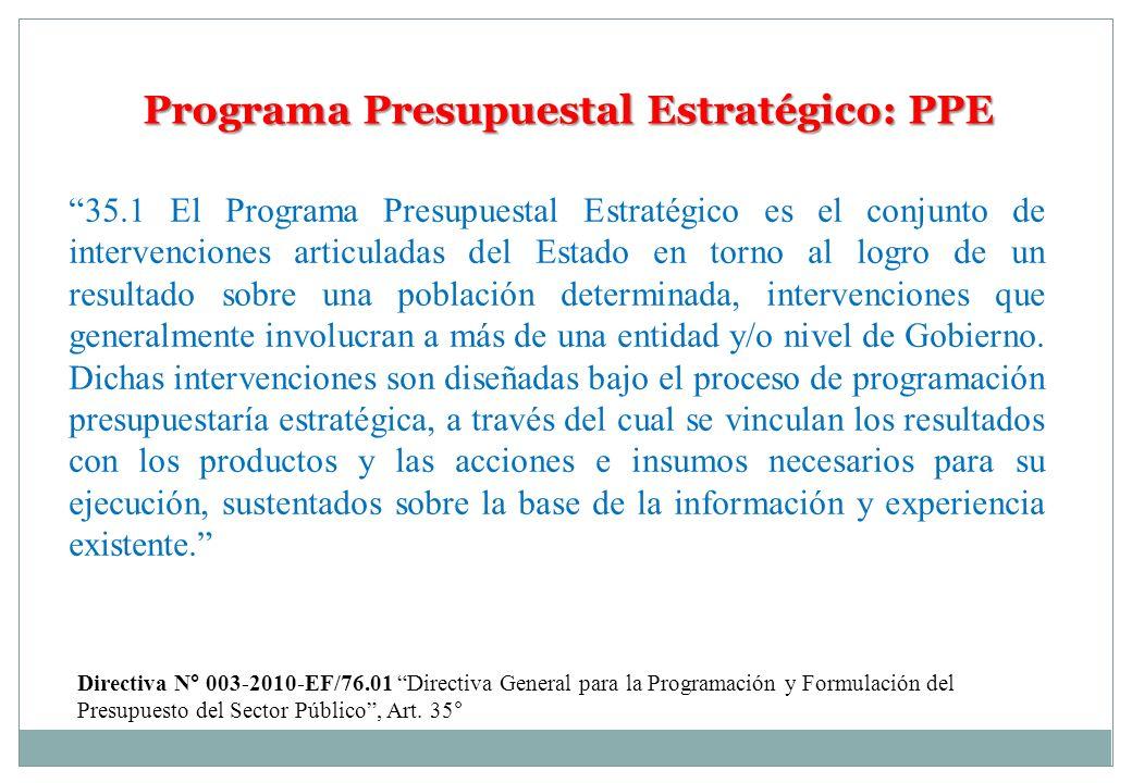 Programa Presupuestal Estratégico: PPE 35.1 El Programa Presupuestal Estratégico es el conjunto de intervenciones articuladas del Estado en torno al l