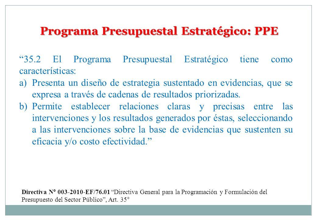 Programa Presupuestal Estratégico: PPE 35.2 El Programa Presupuestal Estratégico tiene como características: a) Presenta un diseño de estrategia suste