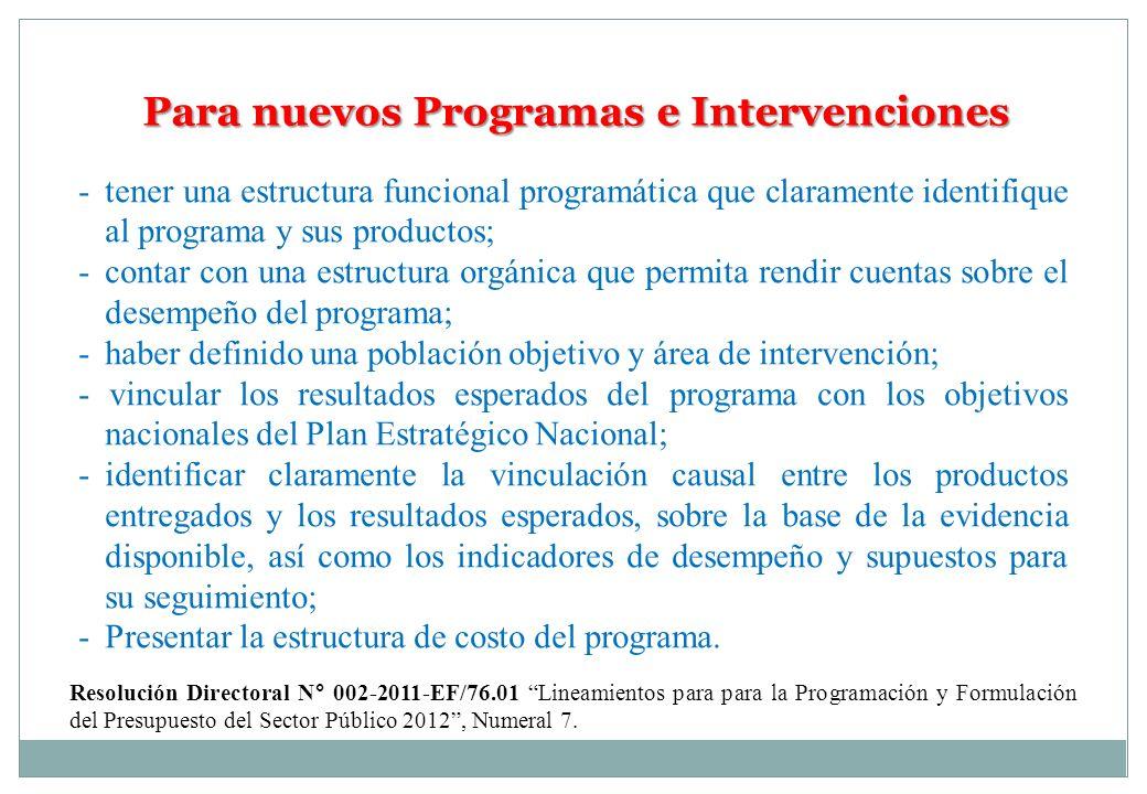 Para nuevos Programas e Intervenciones - tener una estructura funcional programática que claramente identifique al programa y sus productos; - contar