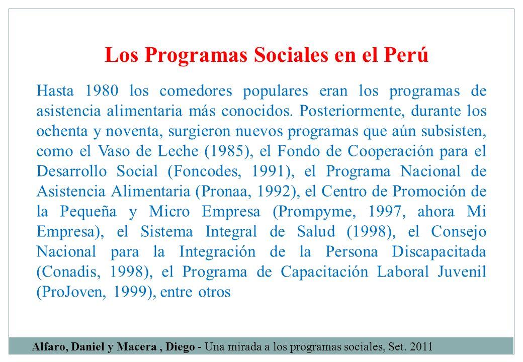 Los Programas Sociales en el Perú Alfaro, Daniel y Macera, Diego - Una mirada a los programas sociales, Set. 2011 Hasta 1980 los comedores populares e