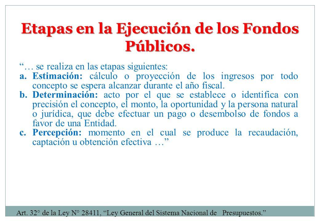 Etapas en la Ejecución de los Fondos Públicos. … se realiza en las etapas siguientes: a.Estimación: cálculo o proyección de los ingresos por todo conc