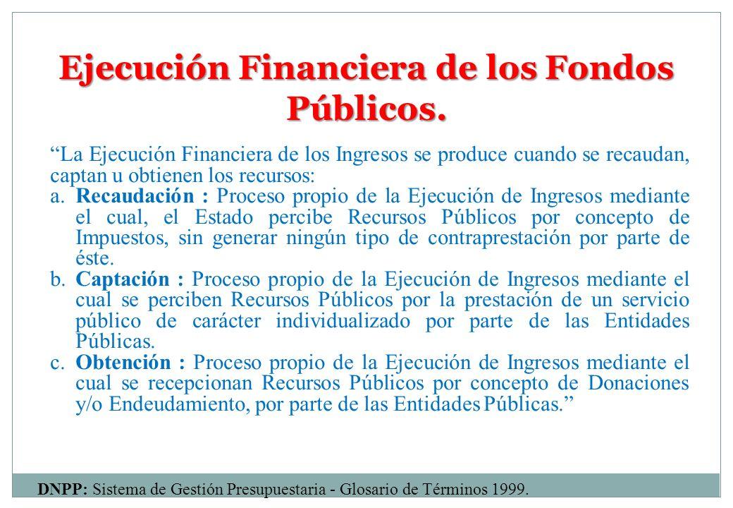 Ejecución Financiera de los Fondos Públicos. La Ejecución Financiera de los Ingresos se produce cuando se recaudan, captan u obtienen los recursos: a.