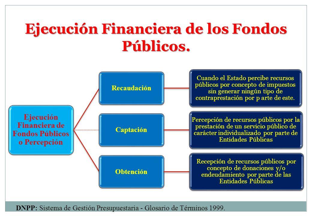 Ejecución Financiera de los Fondos Públicos. DNPP: Sistema de Gestión Presupuestaria - Glosario de Términos 1999. Ejecución Financiera de Fondos Públi