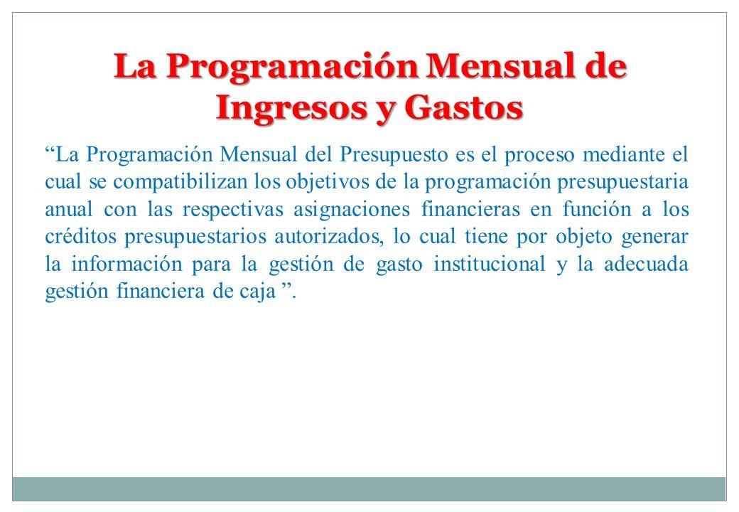 La Programación Mensual de Ingresos y Gastos La Programación Mensual del Presupuesto es el proceso mediante el cual se compatibilizan los objetivos de