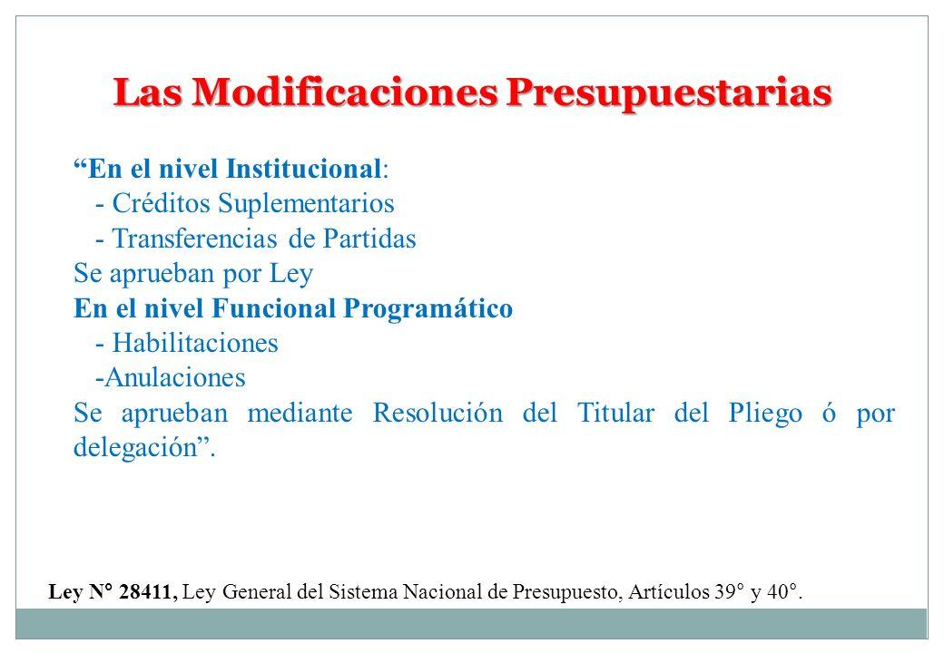 Las Modificaciones Presupuestarias En el nivel Institucional: - Créditos Suplementarios - Transferencias de Partidas Se aprueban por Ley En el nivel F